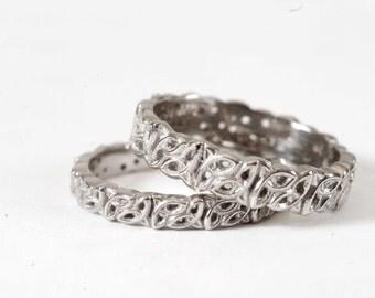 Trinity Knot Celtic Wedding Ring Set, White Gold Wedding Band, 10K 14K 18k Gold, Rose Gold Band, Yelow Gold Ring, Custom Wedding Rings, 616