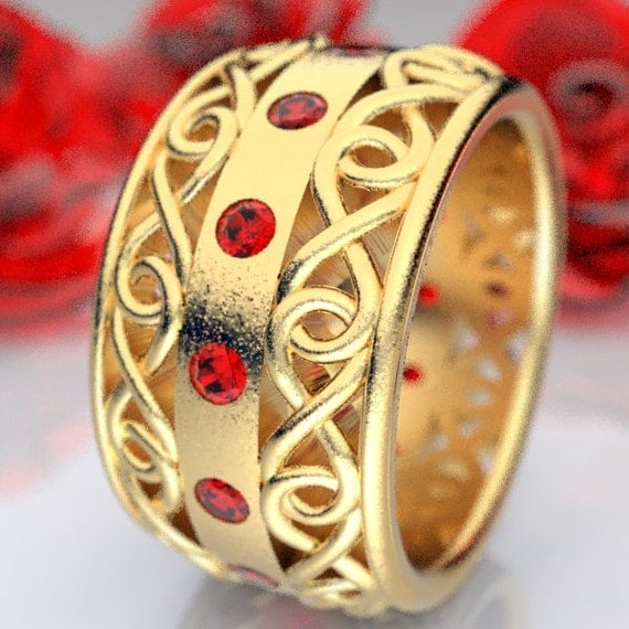 Gold Celtic Wedding Ring With Ruby and Cut-Through Infinity Symbol Design in 10K 14K 18K or Palladium, Made in Your Size Cr-510