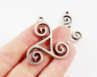 2 Swirl Scroll Motif Pendant Charms - Matte Antique Silver Plated