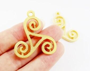 2 Swirl Scroll Motif Pendant Charms - 22k Matte Gold Plated