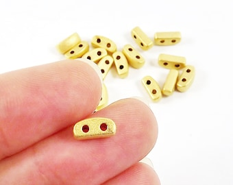 Twin 2 Hole Strand Separator Bead Spacer - 22k Matte Gold Plated - 20pcs