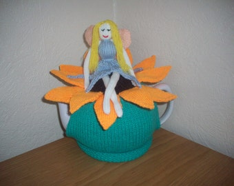 Knitted Tea Cosy Cosie Cozy of a Fairy Sitting in a Sunflower Shabby Chic
