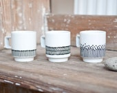 """Hand-painted Set of Espresso Cups """"somewhat angular"""", black and white"""