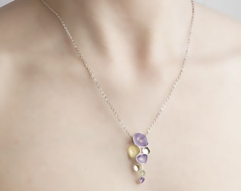 Gift for Wife, Light Purple Necklace, White Pearl Pendant, Discount Jewelry,Cool Necklaces, Silver Necklace for Girlfriend Present