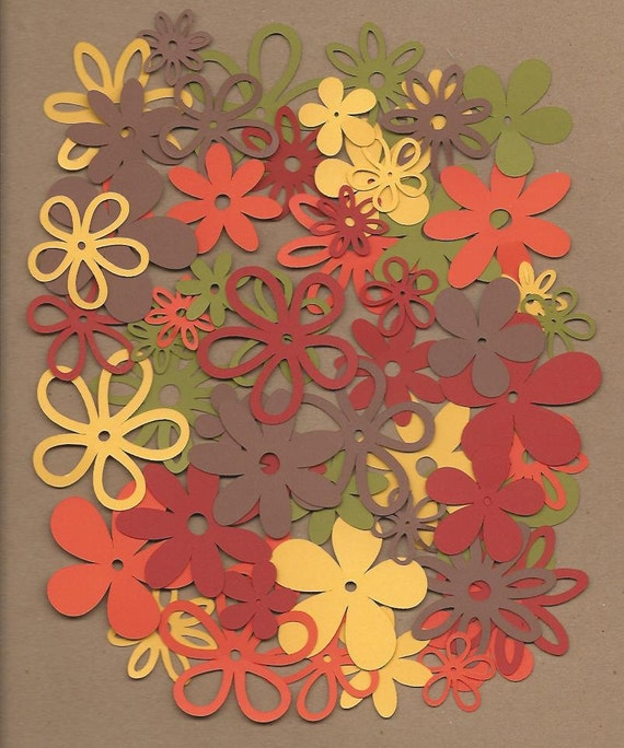 60 Assorted Flowers Spice Colors Cricut Die Cuts From
