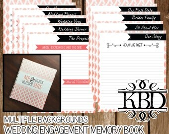 PRINTED Engagement | Wedding Memory Book  - Multiple Backgrounds - Customizable - Monogrammed