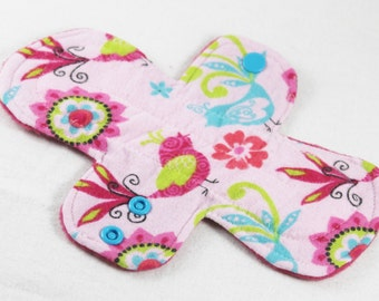 "Reusable Cloth Pad - 8"" Moderate - Colorful Birds Flannel"