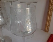Set of 6 etched wine glasses, large, well kept