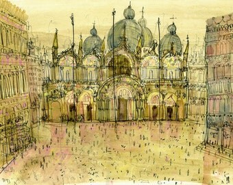 Venice Art Print, Saint Marks Basilica, Watercolor Painting, San Marco Square, Drawing Italy Home Decor, Gold Ochre Wall Art Clare Caulfield