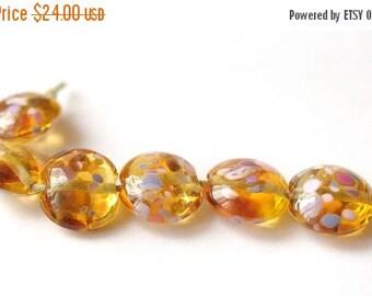 ON SALE 6 pcs Glass Lampwork Bead - Lentil Focal Honey Transparent Multicolor