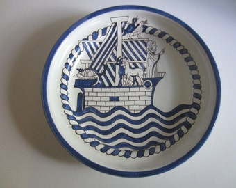 Hand Painted Noah and the Ark Hungarian Ceramic Plate by Habania