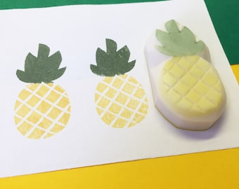 Pineapple Handcarved Stamp Pineapple Stamp Pineapple Rubber Stamp Fruit Stamp Fruit Rubber Stamp handmade stamp greening card wrapping stamp