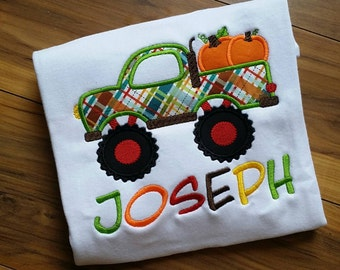 Fall thanksgiving truck Embroidered shirt