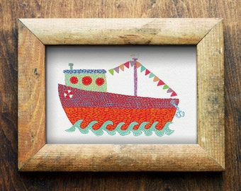 Boat/ Nautical/ Nursery Art/ Nursery Decor/ Digital Download
