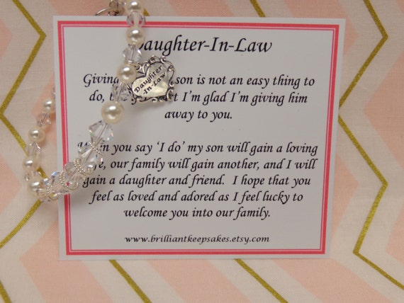 Wedding Gifts For Daughter In Law : Future Daughter In Law Wedding Gift Bracelet Welcome to the Family ...