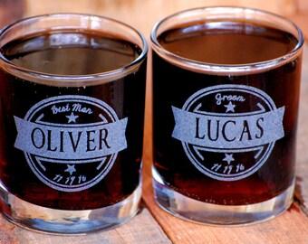 Groom Gift, 6 Personalized Rocks Glasses, Whiskey Glass Set, Groomsmen Wedding Gift, Gifts for Him, Rocks Glasses, Custom Monogram Glasses