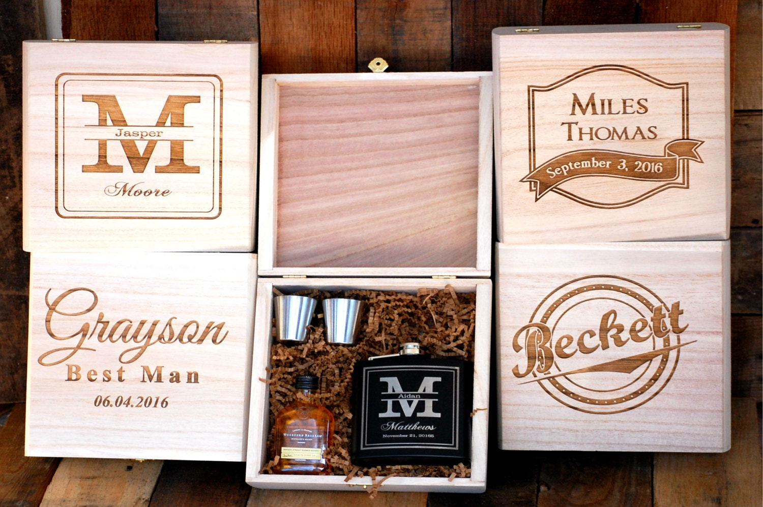 Groomsmen Gift Set Of 1 Cigar Box Flask Gift Set Personalized