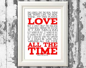 Radiohead Fake Plastic Trees 8x10 picture mount & Print Typography song music lyrics for self framing