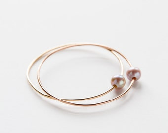 Gold Filled Pink Pearl Bangle