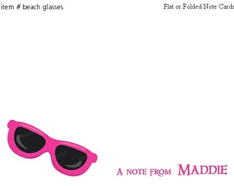 Pink Sunglasses Note cards Personalized Stationery Set of 10 flat or folded notecards