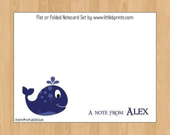 Whale Note Cards Set of 10 personalized flat or folded cards