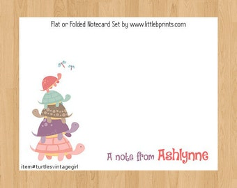 Turtles Note Cards Set of 10 personalized flat or folded cards Pink Purple