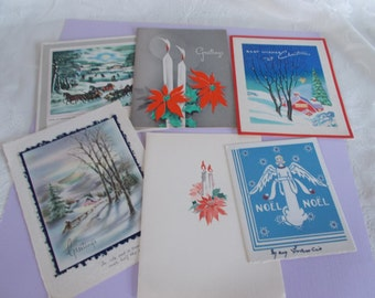 Vintage Christmas greeting Cards For Crafts