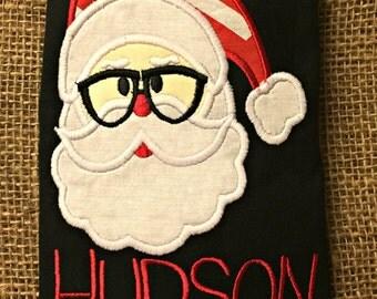 Geeky Santa Christmas Monogram Baby Toddler Shirt bodysuit