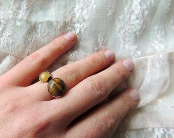 nephrite and tiger quartz, Dual Gemstone Ring, raw gemstone ring, raw ring, druzy ring, geode ring, Raw Stone Ring, Multistone Ring