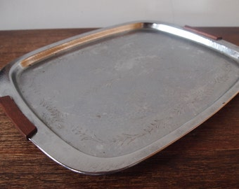 Stainless steel serving tray with wooden handle // danish style stainless steel tray // stainless steel platter // retro serving tray