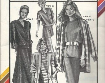 Uncut Vintage Sewing Pattern Twin Set - CARDIGAN and  TOP - Stretch & Sew Pattern - by Ann Person - c. 1988- Sizes - 30 - 46 - Many Looks!