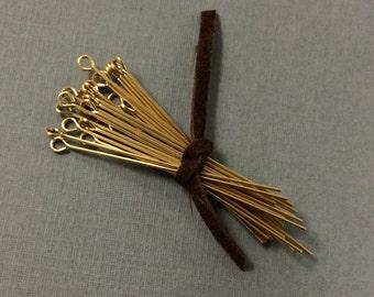 """25 pc 1"""" 24 gauge 14K Gold Filled Eyepins, 14 K Karat Gold-Filled, Gold Filled Findings - GF081"""