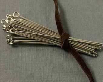 "25 pc 1.5"" 24 gauge Sterling Silver Eyepins, 925 Silver Eye pins - SF083"