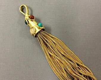 Gold Tassel Pendant, Gemstones, Large 5.5 Inch, Real Multi Color 7 Gemstones, Jewelry Tassels, Choose Quantity - HP107Multi