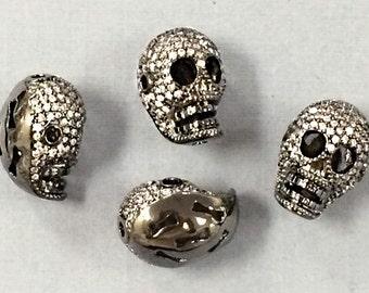 Pave Skull Bead, CZ Pave Skull Bead, CZ Micro Pave Skull, Sketelon bead, Gun Metal, Dark Rhodium, horizontal & Vertical Hole -BMP11-GM