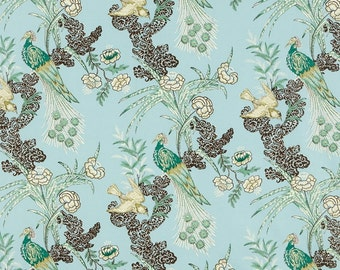 "Schumacher Miles Redd Collection ""Peacock"" Drapery Panels -100% Cotton"