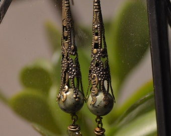 Brass Baroque Dangle Earrings