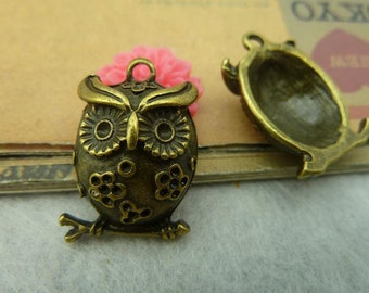 5pcs Vintage Brass Cute Owl Charms Pendants 16x24mm