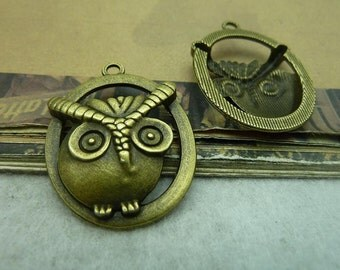 10pcs Vintage Brass Cute Owl Charms Pendants 28x36mm