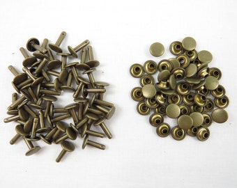 "Antique Brass Double Cap Rivets Extra Large - Pack of 50 Rapid Rivets 12 mm - Bronze 1/2"" Rivets"