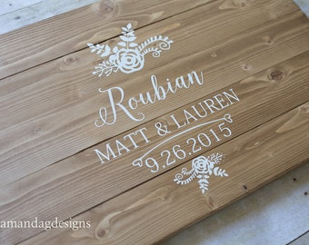 Floral Personalized Wedding Guest book Wooden Guest Book Alternative