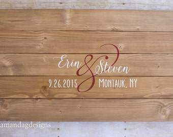 Personalized Wood Sign Wedding Guest Book Alternative