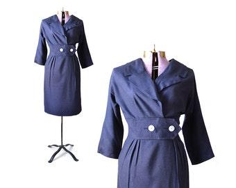 50s Dress Blue Dress 1950s Dress Linen Dress Nautical Dress  Sailor Dress 1950s Dress  50s Dress Navy Dress /Vintage Clothing Women Dresses