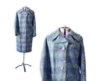 1950s Plaid Coat / Wool Coat / Womens Coat / Blue Coat / 50s Coat / Natelsons  Women Outerwear / Vintage Clothing Outerwear