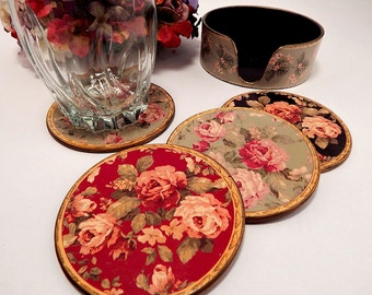 Lacquerware Coasters in Caddy 1930's Art Nouveau Victorian Floral Design Barware Set of Four Beverage Serving Vintage Home Decor Tableware