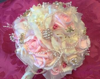 Wedding Bouquet Set-(4 pieces)Bride's Wedding Flowers-Bridal Bouquet-Ivory&Pink Bride's Brooch Bouquet-Bridesmaids Bouquets-Skull Bouquets
