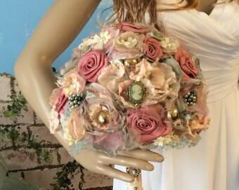 Fabric Flower Bouquet,Brooch Bouquet,Jewelry Bouquet,Steampunk Bouquet,Cameos,Victorian Steampunk-Wedding Bouquet,Bridal Bouquet,Shabby Chic