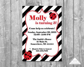 Ladybug Birthday Party Invitation, Striped Ladybug Invite, Ladybug Birthday Party, Lady Bug Party, Printable invitation, digital file, pdf