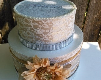 Rustic wedding money box,card holder,flowers,table decoration,elegant & large burlap and lace