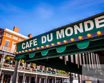New Orleans Art Print - Cafe Du Monde Photography, Large Canvas Prints, Oversized Home Decor, Metal Wall Art, Wood, Framed, Black and White